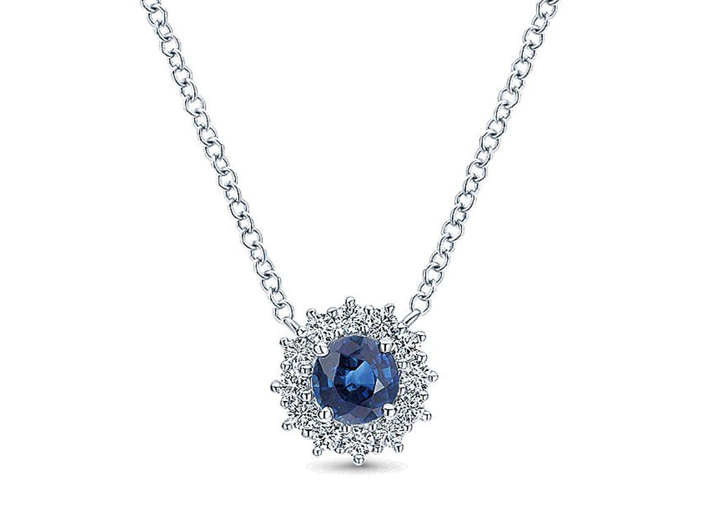 Simple White Gold Diamond and Sapphire Necklace at the Best Jewelry Store in Washington DC