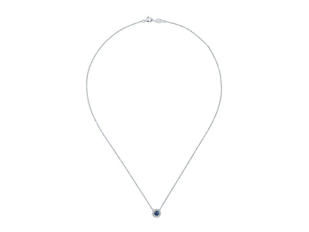 14K White Gold, Diamond and Sapphire Necklace