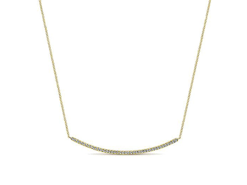 Pavé Diamond Curved Bar Necklace in White Gold