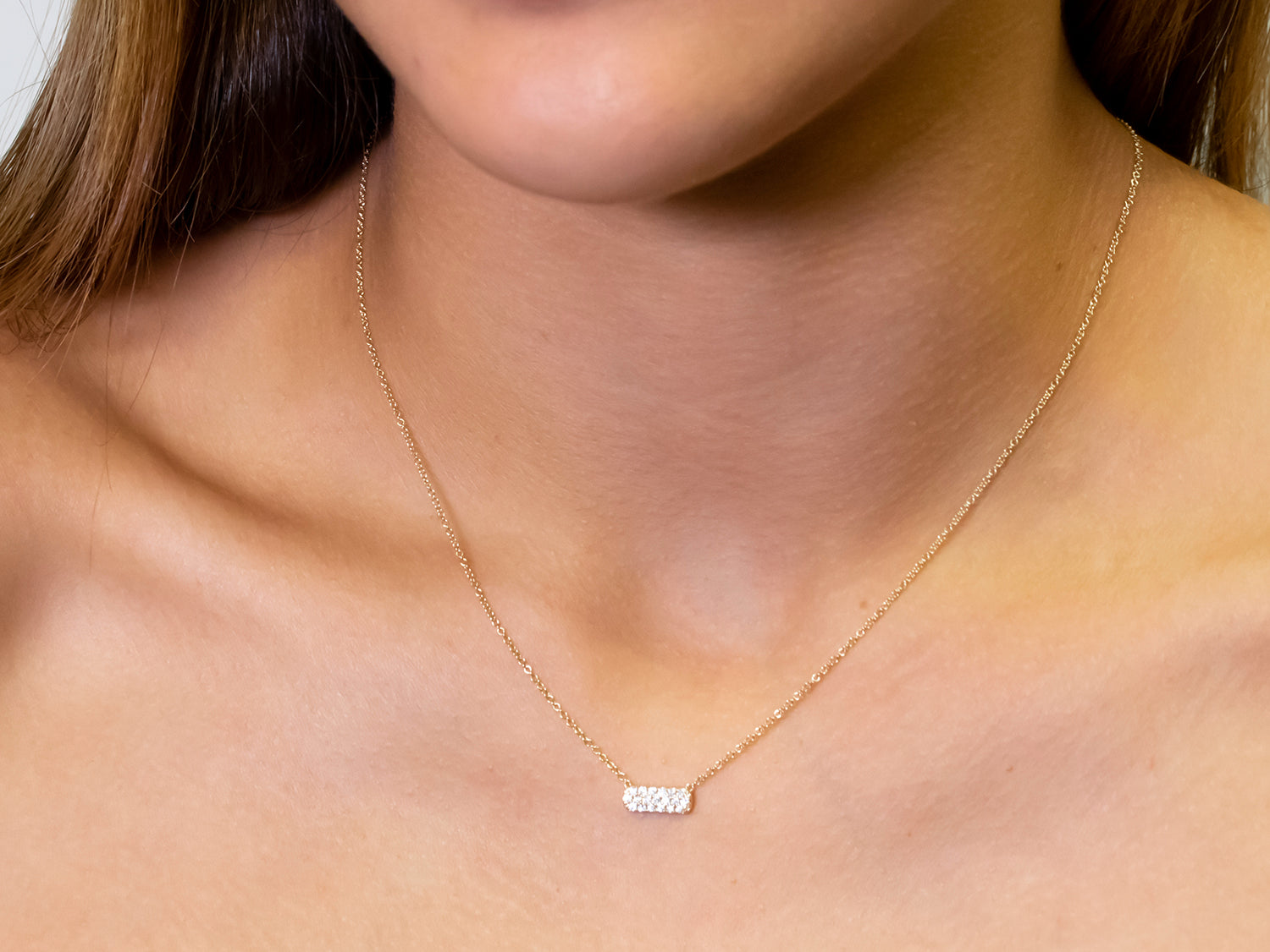 Petite Diamond Bar Necklace in Yellow Gold