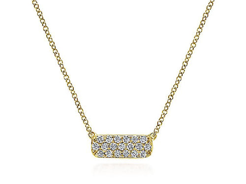 Simple Yellow Gold and Diamond Bar Necklace at the Best Jewelry Store in Washington DC