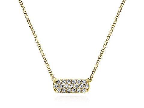 14K Yellow Gold, Sterling Silver and Diamond Pendant Necklace