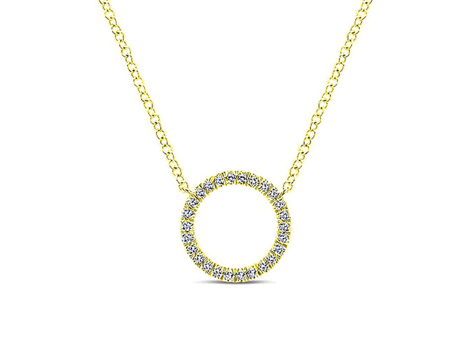 Simple Yellow Gold and Diamond Circle Necklace at the Best Jewelry Store in Washington DC