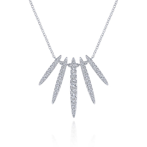 Radiant Pavé Diamond Necklace in White Gold