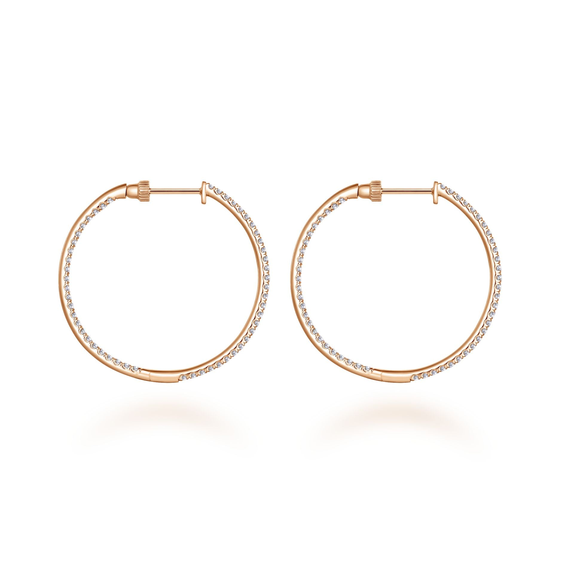 Pavé Diamond Inside-Outside Hoop Earrings in Rose Gold