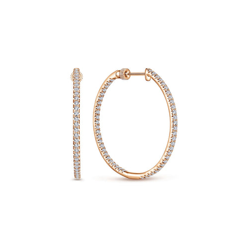 Pavé Diamond Inside-Outside Diamond Hoop Earrings in Rose Gold