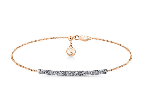 Pavé Diamond Bar Chain Bracelet in Rose Gold