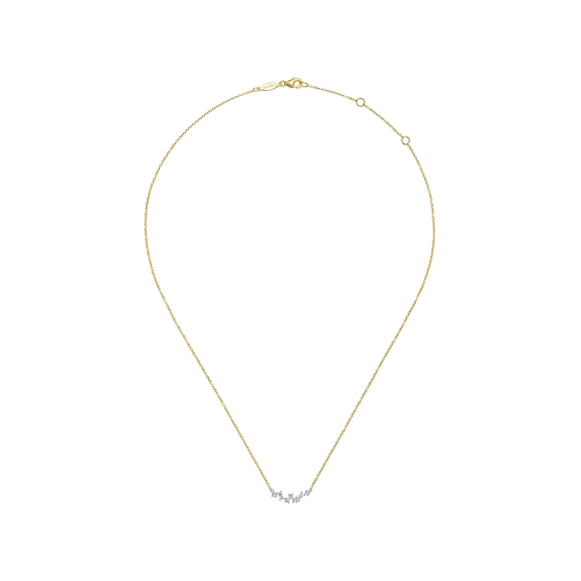 "Petite Baguette and Round Diamond ""Zig Zag"" Necklace"