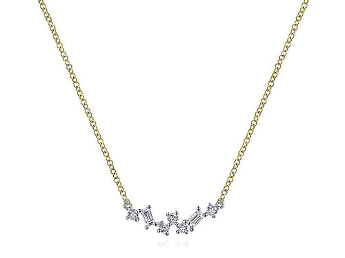 Petite Baguette and Diamond Bar Necklace