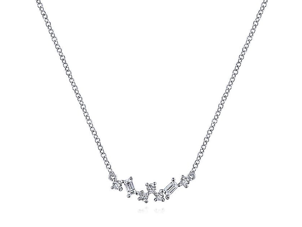 Round and Baguette Diamond Necklace in White Gold