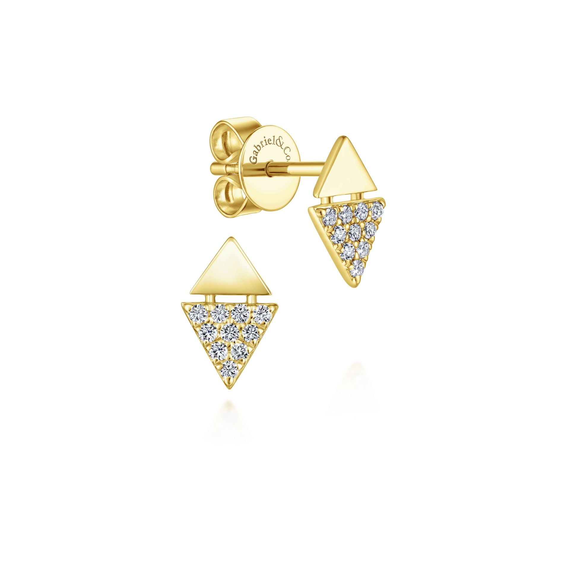 Stacked Triangle Pavé Diamond Stud Earrings in Yellow Gold