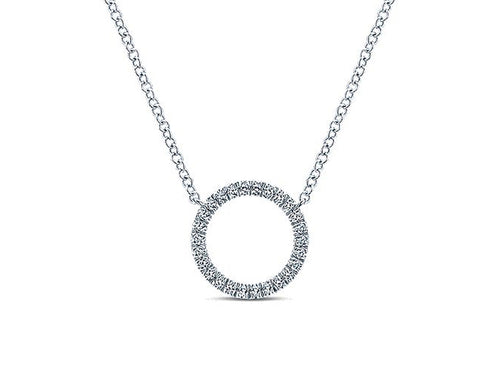 Petite Circle of Diamonds Necklace in White Gold
