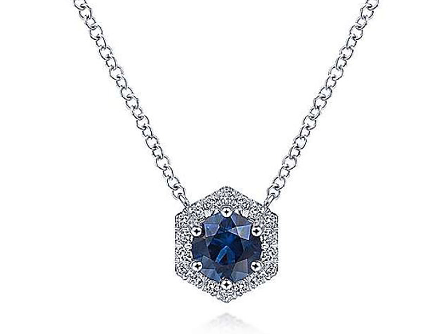 Sapphire and Halo Diamond Necklace