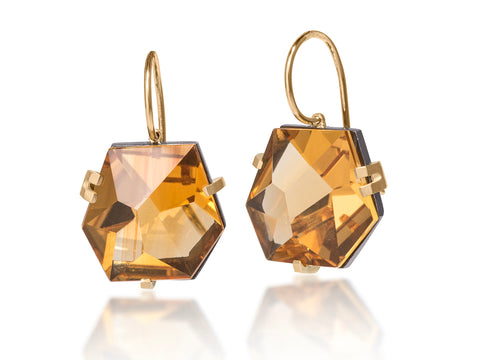 Upside Down Diamond Drop Earrings in Yellow Gold