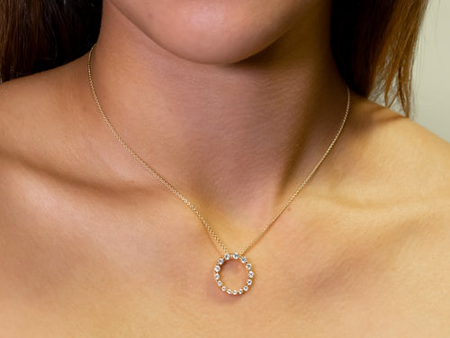Yellow Gold Circle of Diamonds Necklace