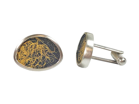 Oxidized and Sterling Silver Men's Cufflinks