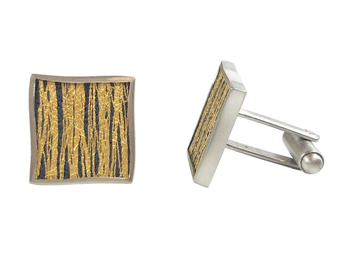 Oxidized Silver, Gold and Sterling Silver Cufflinks