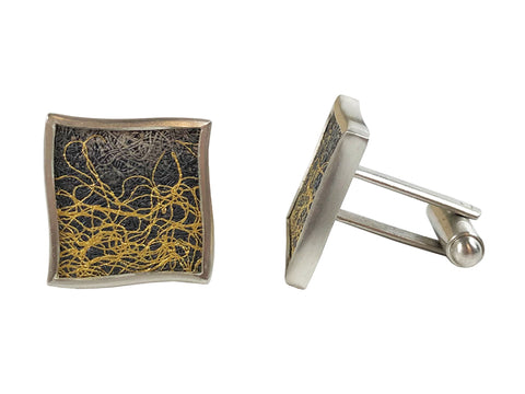 Oxidized Silver and Sterling Silver Cufflinks
