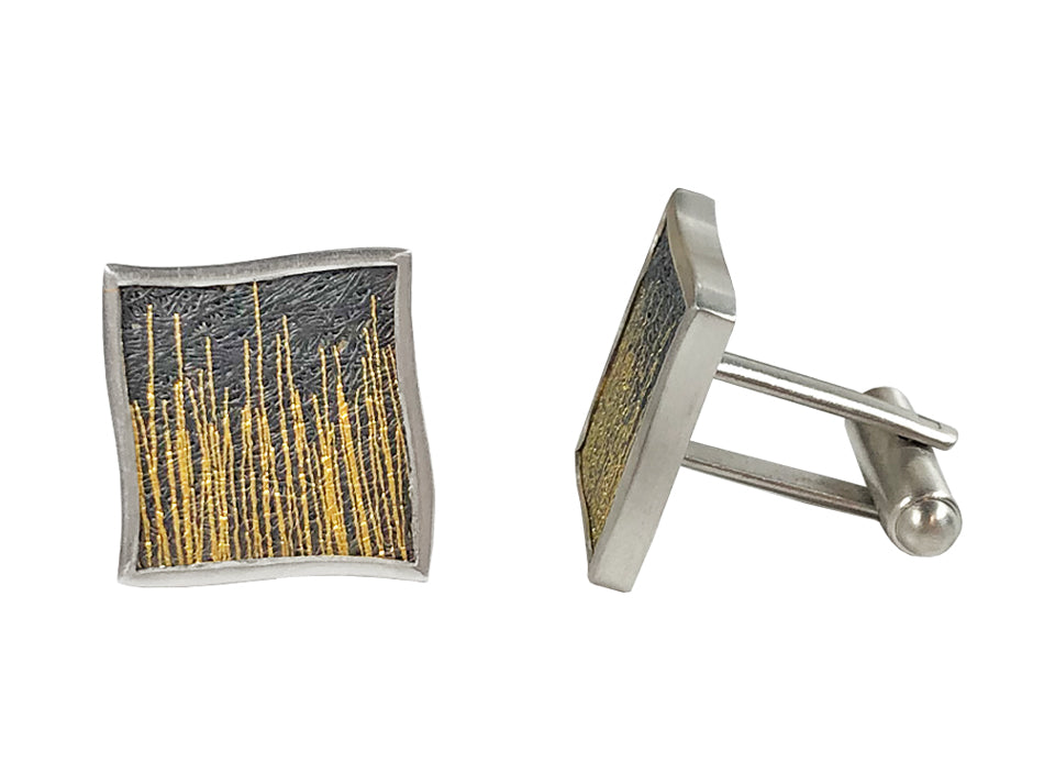 Partially Oxidized Pure Silver, Pure Gold and Sterling Silver Cufflinks