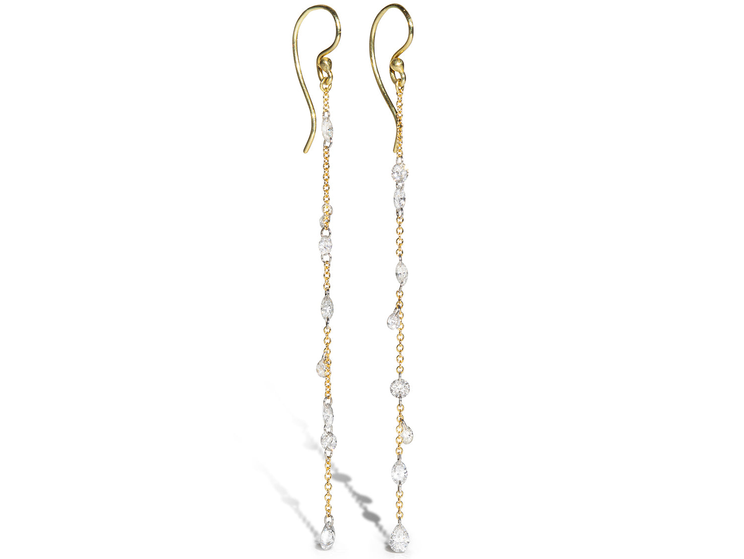 Round and Marquise Diamond Drop Earrings in Yellow Gold