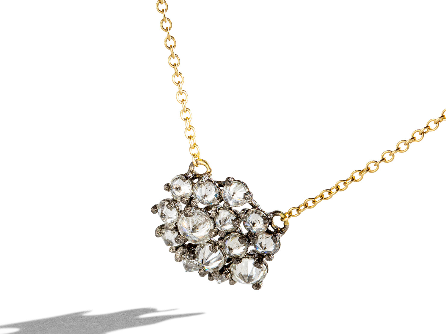 Inverted Diamond Cluster Pendant Necklace