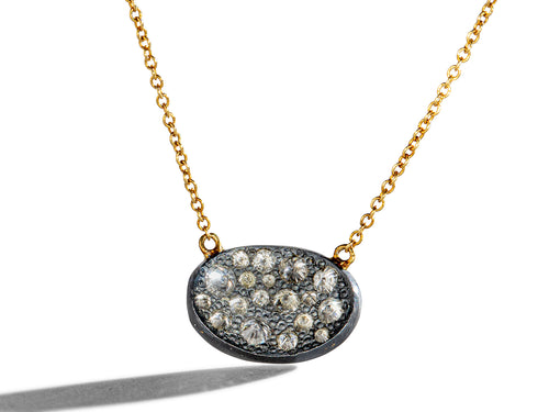 Inverted Diamond Oval Pendant Necklace