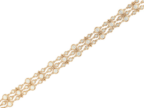 Nine Diamond Hammered-Gold Cuff