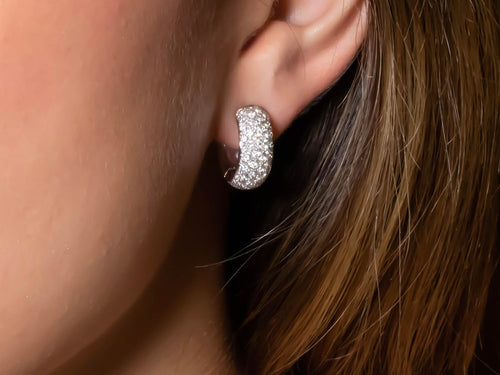 White Gold and Pavé Diamond Huggie Earrings