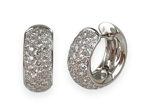 14K White Gold and Diamond Hoop Earrings