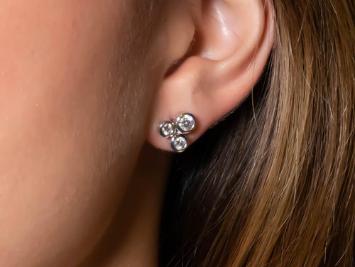 Bezel Diamond Cluster Stud Earrings