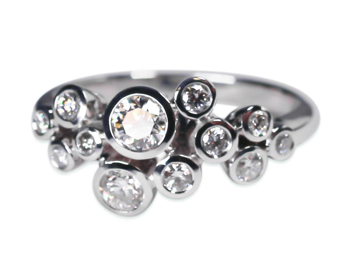 Bezel Diamond Cluster Ring in White Gold