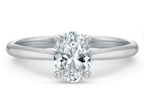 18K White Gold, Platinum and Oval Diamond Solitaire Engagement Ring