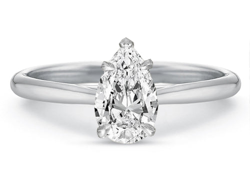 18K White Gold, Platinum and Pear Diamond Solitaire Engagement Ring