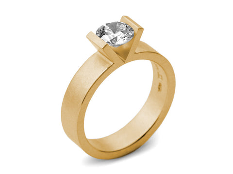 Contrast Cut Champagne Diamond Ring