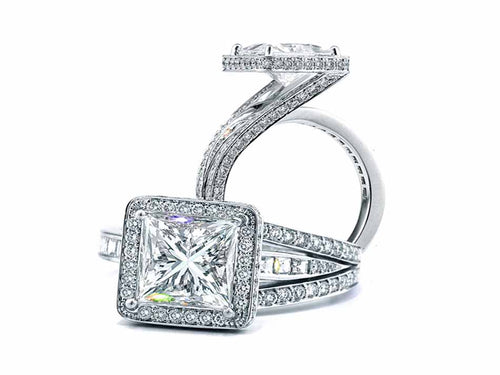 18K White Gold and Square Diamond Engagement Ring