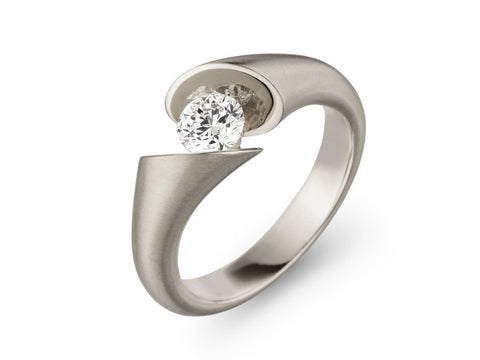 18K White Gold and Diamond Engagement Ring and Wedding Band
