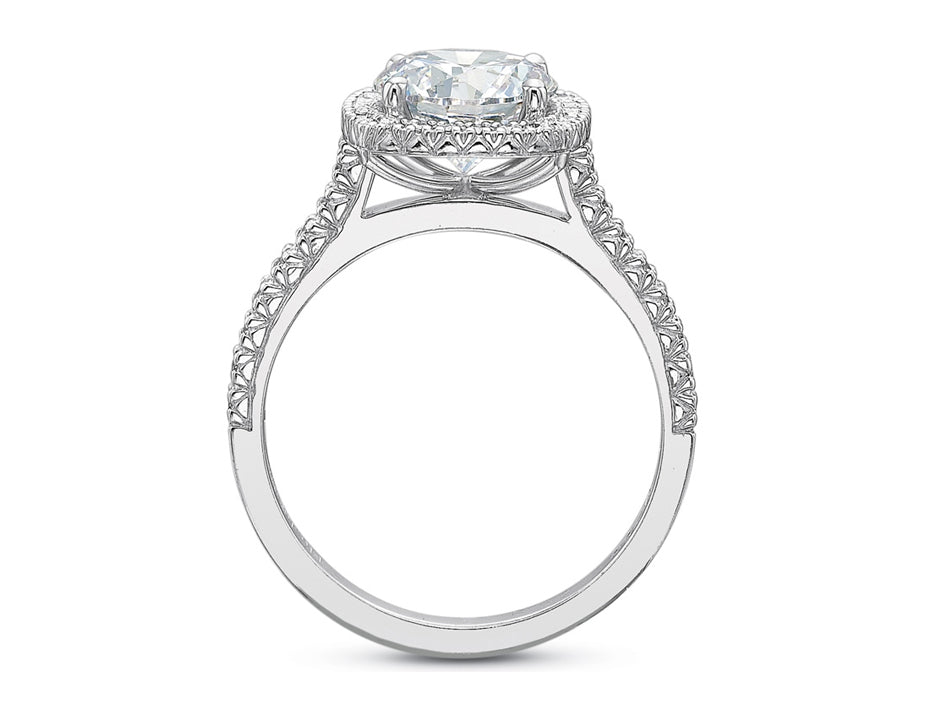 Platinum and Diamond Halo Engagement Ring