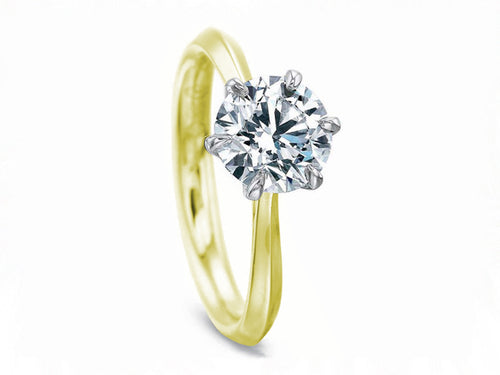 18K Yellow Gold, Platinum and Diamond Solitaire Engagement Ring