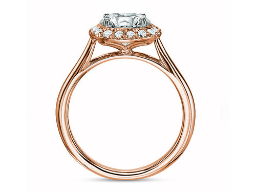 18K Rose Gold and Diamond Halo Engagement Ring