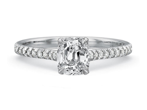 18K White Gold and Cushion Diamond Solitaire Engagement Ring