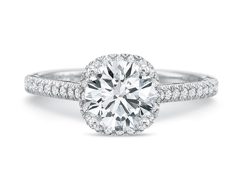 18K White Gold Halo Diamond Engagement Ring Mounting