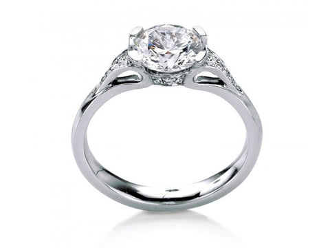 18K White Gold, Platinum and Diamond Solitaire Engagement Ring