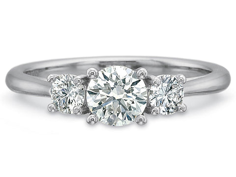 Platinum and Emerald Diamond Solitaire Engagement Ring