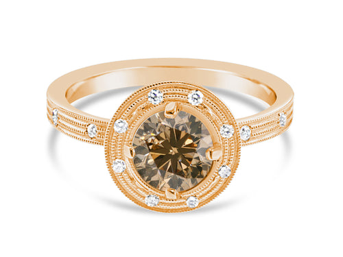 18K Rose Gold and Brown Diamond Engagement Ring