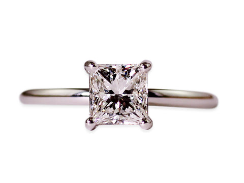 Platinum and Halo Diamond Engagement Ring