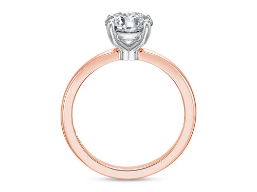 18K Rose Gold, Platinum and Diamond Solitaire Engagement Ring