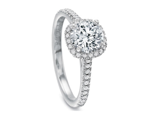 18K White Gold and Halo Diamond Engagement Ring