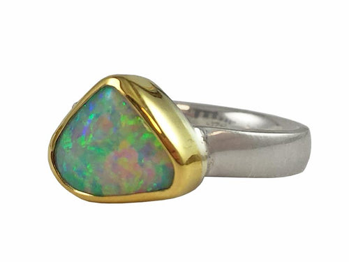 18K Yellow Gold, Sterling Silver and Opal Ring