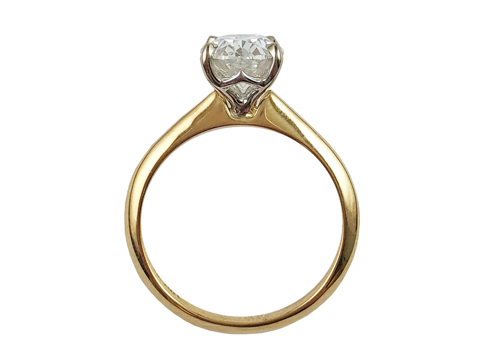 18K Yellow Gold, 18K White Gold and Diamond Solitaire Engagement Ring