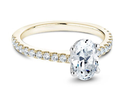 18K Yellow Gold, 18K White Gold and Solitaire Diamond Engagement Ring